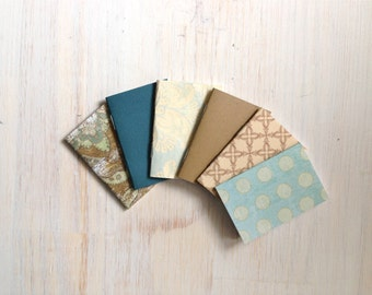 Notebooks: 6 Tiny Journal Set, Earthy, Blue, Favors, Small Notebooks, For Her, For Him, Gift, Unique, Mini Journals, Cute, Wedding, T094