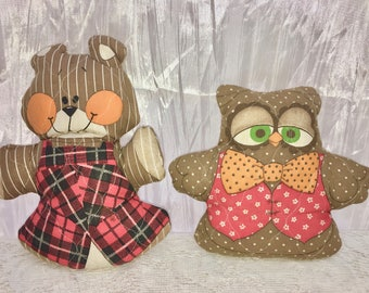 Vintage Softies. Owl and Bear. Quilted. Small. Doll Accent Pillows.
