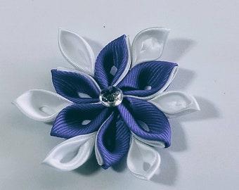 Elegant purple and white flower ribbon hairclip