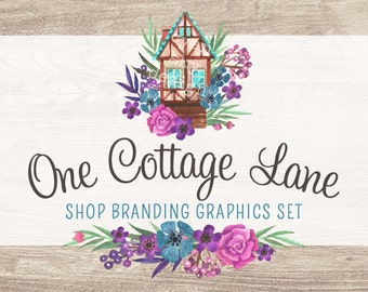 Rustic Cottage Shop Branding Banners, Avatar Icons, Business Card, Logo Label + More - 13 Premade Graphics Files - ONE COTTAGE LANE