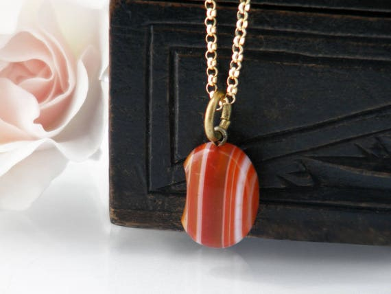 Victorian Lucky Bean Fob Pendant | Antique Agate Pendant | Bean Shaped Banded Carnelian  Pendant Necklace | Antique Jewelry - 20 Inch Chain