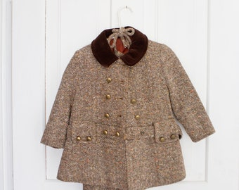 Vintage Baby Toddler Wool Outfit Full Winter Wool Outfit Tweed Toddler outfit Childcraft Size 3 Tweed Wool Toddler Hat Snow Outfit Snowsuit