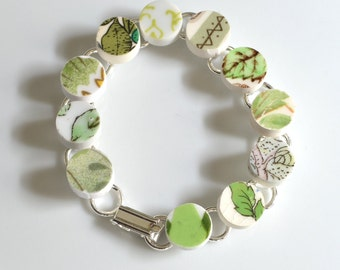 Recycled China Link Bracelet - Green Variety