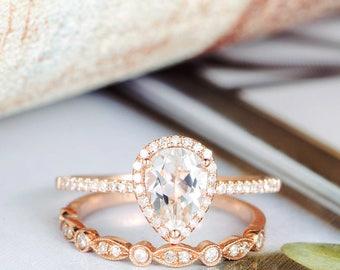 Rose Gold Topaz Engagement Ring Diamond Wedding Women Halo Half Eternity Bridal Ring Set Anniversary Gift Birthday Graduate
