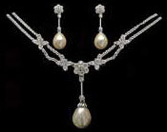 Gorgeous New Vintage Belle Epoque Bridal Jewelry set Wedding Faux Pearl and Rhinestones