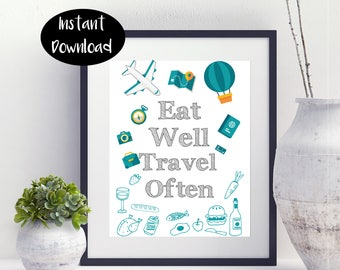 Eat Well Travel Often , Travel Print , Instant Downloads DIGITAL PRINTABLE.