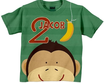 Boys Birthday Shirt, Personalized Monkey Number Tshirt