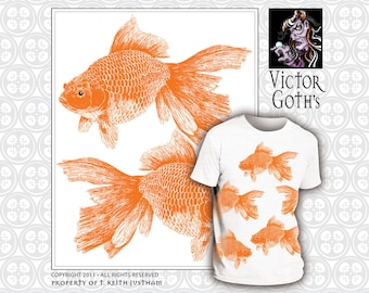 Big Goldfish Wrap - Random, Hand-printed T-shirt - Swimming With Fishes! FREE SHIPPING on T-shirt.