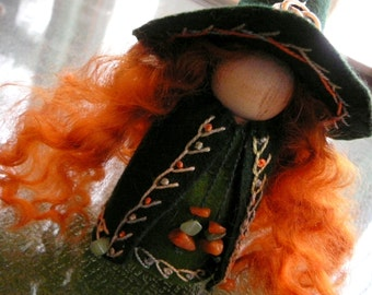 Large Celtic Witch Peg Doll, Waldorf Wooden Peg Doll, Handmade Miniature