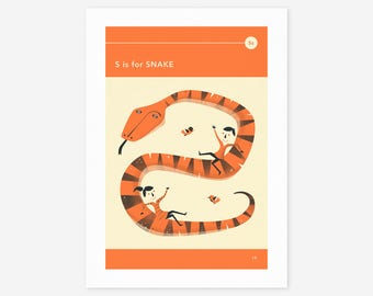 S is for SNAKE (Giclée Fine Art Print/Photo Print/Poster Print) by Jazzberry Blue