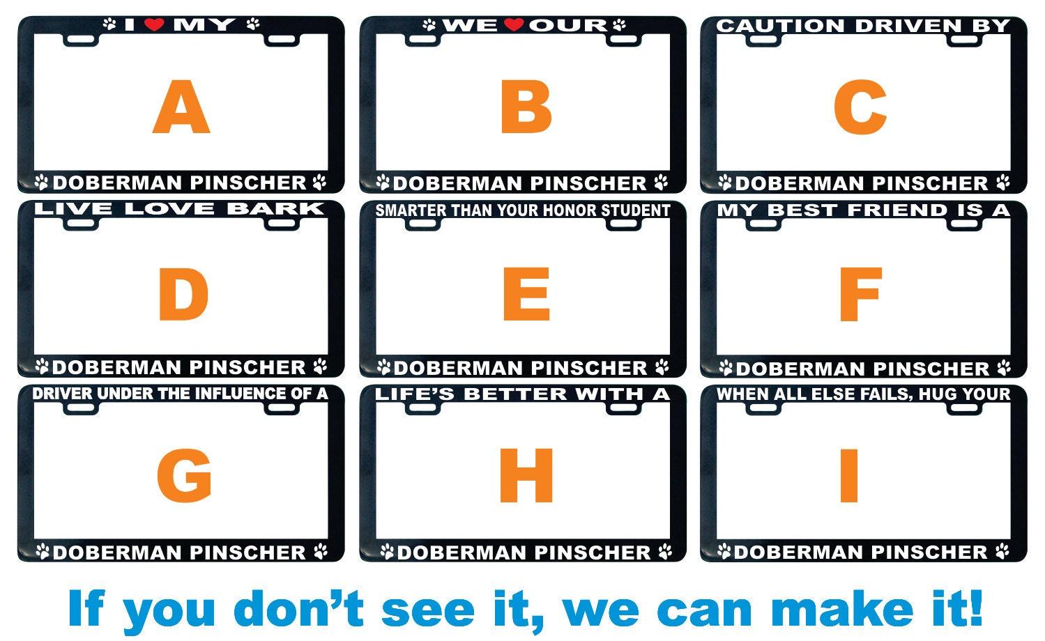 Dobermann Dobermann Hund verschiedene Nummernschild Rahmen