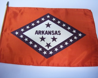 "Vintage Silk Arkansas Flag, Flag 17.5"" x 11.5"", On Small Wooden Stake, Estate Find, Selling As Found, Stapled On Dowel, Very Rare Flag"