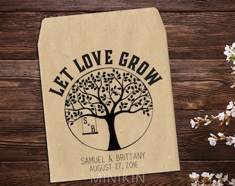 Wedding Seed Packet, Rustic Wedding Favor, Personalized Favors, Seed Packet Favor, Let Love Grow, Seed Favors, Wedding Tree, Eco x 25