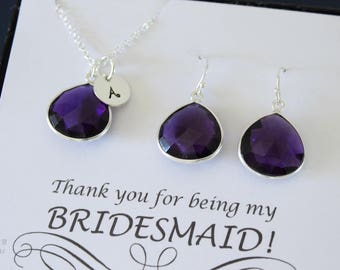 7 Monogram Bridesmaid Necklace and Earring set Purple, Bridesmaid Gift, Amethyst Quartz, Sterling Silver, Initial Jewelry, Personalized