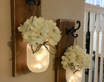 Farmhouse Wall Decor,Home Decor,Farmhouse Living Room Decor,Farmhouse Kitchen Decor,Farmhouse Chic Sconce,Farmhouse Sconce, Mason Jar Sconce