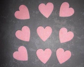 set of 10 hearts pink felt