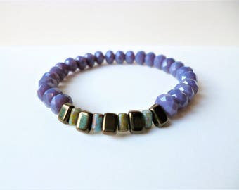 Purple Brown and Green Bracelet, Purple Stretch Bracelet, Amethyst Bracelet, Purple Bracelet, Unusual Gift, Unique Bracelet, Beaded Stretch