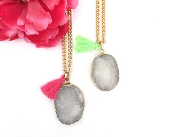 womens gift - statement necklace - druzy stone pendant with tassel - raw gemstone necklace - agate druzy jewelry - gold white dipped druzy