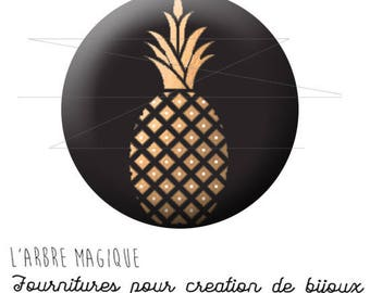 2 cabochons to glue in tropical fruit pineapple black and gold ref 1741 - 16 mm.