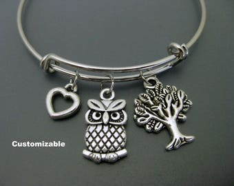 Owl Bangle / Owl Bracelet / Tree of Life Bangle / Charm Bracelet / Adjustable Bracelet / Stackable Bangle / Expandable Bracelet / Owl Lover