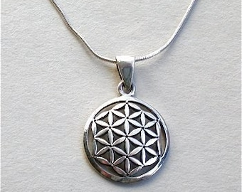 Sterling Silver Sacred Flower of Life Charm Necklace