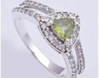 Handmade ring,925 sterling silver ring,Peridot ring,Silver ring