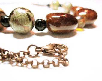 Brown Beaded Statement Necklace Various Color Brown Hues Statement Necklace Gift For Her NECKLACE JEWELRY