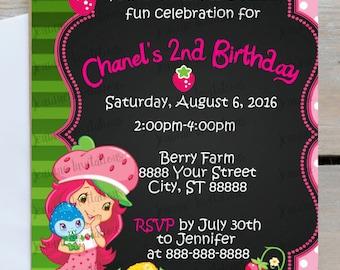 Strawberry Shortcake Birthday Invitation,Berry Farm, Pink Green, 5x7, Printed or Digital File