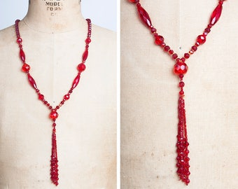 Vintage 1920s Red Cut Glass Beaded Tassel Flapper Necklace // Roaring 20s // Great Gatsby // Art Deco // Baby Vamp // Jazz Age