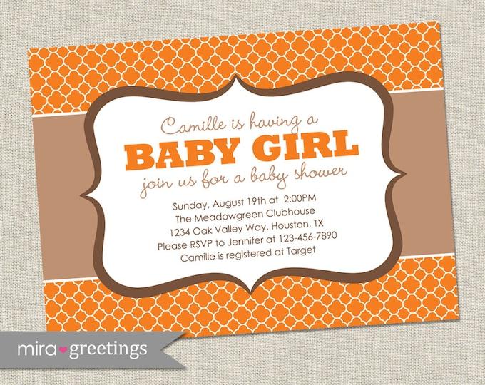 Orange Quatrefoil Baby Shower Invitation - Printable Digital File