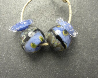 CrazyCatGlass Lampwork Boro Glass Beads Handmade Nile Rounds Pair