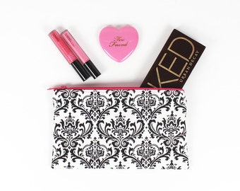 Black and White Damask makeup bag, Hot Pink lining and Hot Pink zipper - In Stock Ready To Ship
