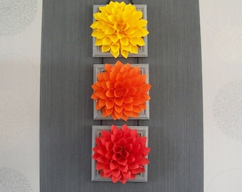 Triptych flowers Orange yellow customizable Red Dahlia Christmas Halloween