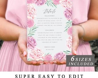Pink Floral Wedding Details Card Template, Printable Wedding Detail Cards, Wedding Details Insert, Wedding Information Card INSTANT DOWNLOAD