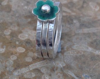 Silver Stacking Rings  with enamel flower