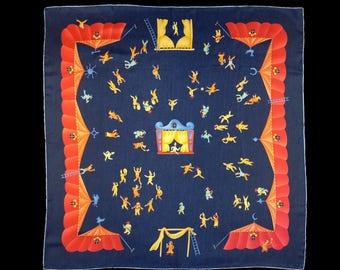 Vintage BULGARI SCARF, Girotondo di Marionette, circus puppet show silk scarf, authentic BVLGARI designed by Davide Pizzigoni