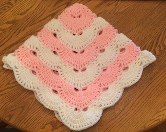 Oh so soft, pink and white baby afghan