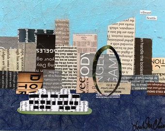 "Original collage - Vibrant Seattle - made with old magazines 5"" x 7"" x 1.5"""