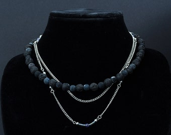 Lava stone and Silver Multi-strand Necklace 18.5""
