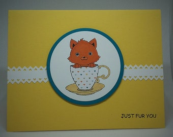 Just Fur You Card - Cat in Teacup