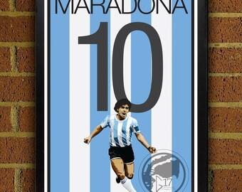Diego Maradona 10 Poster - Argentinian - Argentina  Soccer Poster- 8x10, 13x19, poster, art, wall decor, home decor, world cup, legend