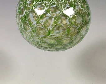 Hand Blown Glass Ornament:  Emerald Green and White Faceted Sphere