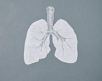 Anatomical Lungs Hand-Cut Papercutting Artwork