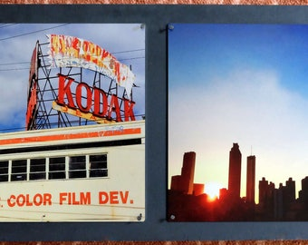 Kodak Atlanta and Atlanta Silhouette - Atlanta, Georgia - Metal Print Photo Mounted on Wood Frame