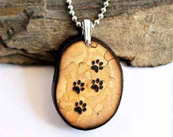 Paw Prints Necklace, Reclaimed Wood Necklace, Eco-Friendly Wooden Branch Pendant, Rustic Handmade Sustainable Wooden Jewelry by Hendywood