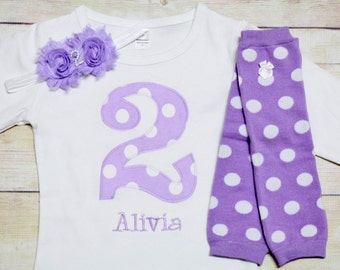 "Lavender Polka Dot  Birthday ""2"" Outfit for Girls 2nd Birthday - 2nd Birthday Outfit - Purple and White Dots"