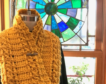 Golden Crocheted Cable Knit Cowl