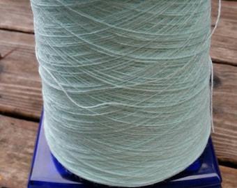 12.8 oz Light blue cone yarn - unknown fiber - nylon or polyester?