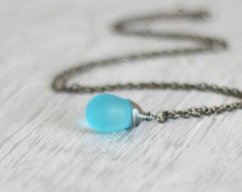 Turquoise Drop Pendant, Blue Drop Necklace, Turquoise Pendant, Turquoise Silver,Blue Silver Necklace,Wire Wrapped Drop Pendant,Drop Necklace