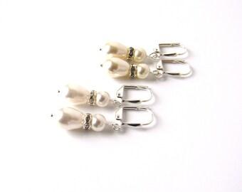 Swarovski Pearl Rhinestone Earrings, Bridal Earrings, Pearl Wedding Jewelry, Bridesmaid Jewelry, Pearl Dangle Earrings, Vintage Inspired